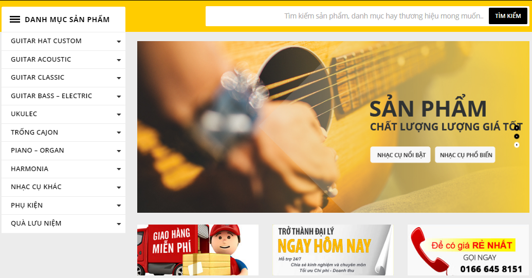 thiet ke website Guitar Hat