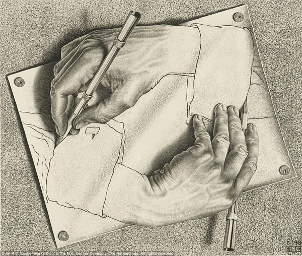 Một trong những tác phẩm rất nổi tiếng của Escher: Drawing hand (Vẽ tay -1948) đã tạo nền tảng cho khái niệm strange loop - vòng xoay kỳ lạ và hiệu hứng Droste - một dạng hiệu ứng thị giác trong nghệ thuật.