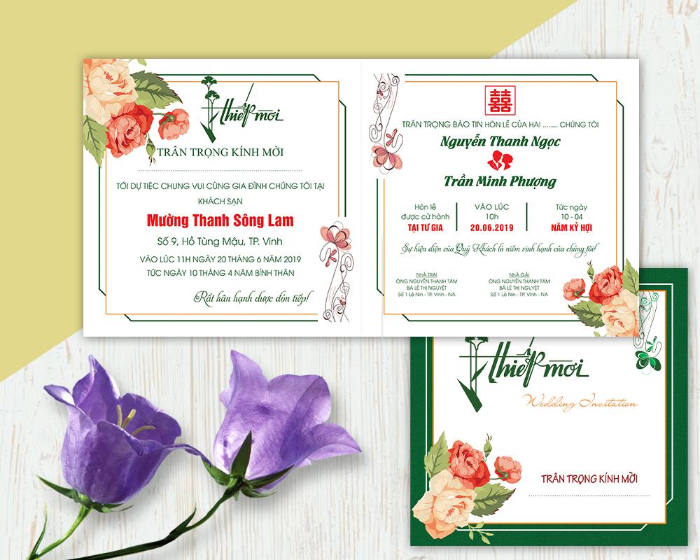 Mẫu thiệp cưới Corel in ấn
