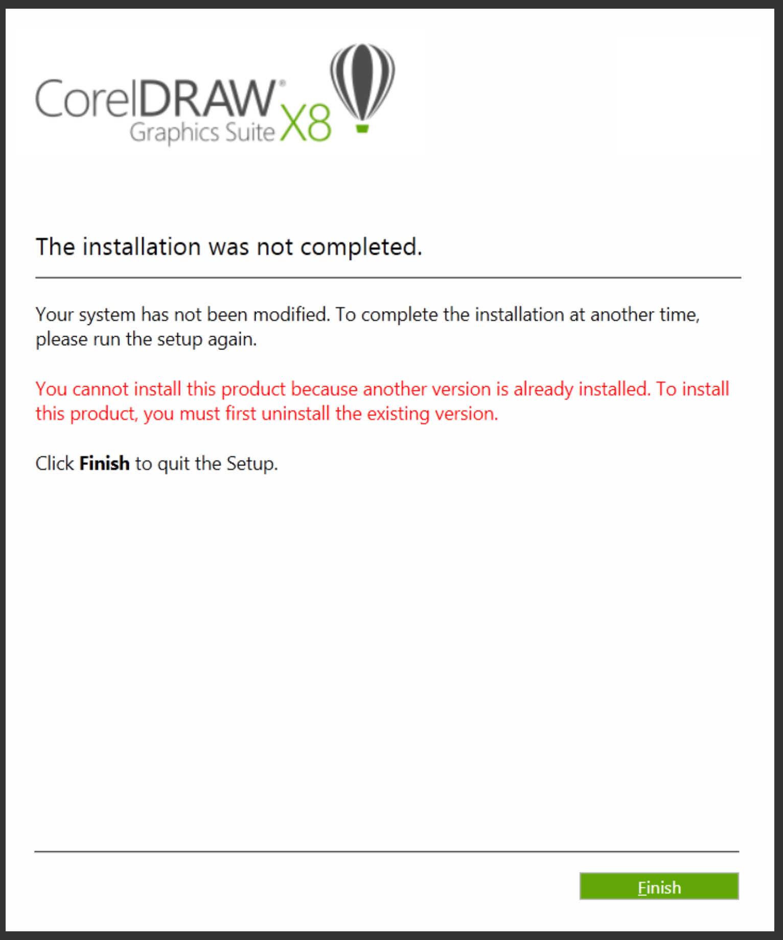 lỗi không cài đặt được CorelDRAW